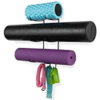 Wallniture Guru Wall Mount Yoga Mat Home Gym Equipment Resistance Bands and Foam Roller Holder with 3 Hooks 3 Sectional Metal Black