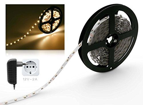 LED Streifen 2m warmweiß Set mit Steckernetzteil LED Strip Leiste Streifen 2 Meter 60LED/m IP20 12V 24W-Netzteil -