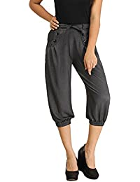 Black Denim Capri Pants For Girls & Women With 2 Pockets & Belt In Front - Capri Pants For Ladies - 3 4 Capri...