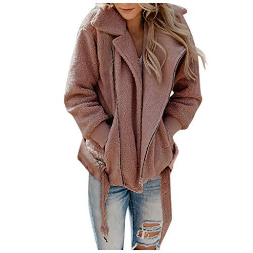 Damen Oversize Fleecejacke Warmer Wintermantel Womens Schöne mit Zip Dicken Kunstpelz Outwear Dufflecoat Shearling Fuzzy Fleece Jacke Mantel Revers URIBAKY