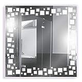 Artland Qualitätsspiegel I Spiegel Badspiegel mit LED und Gravur 70 x 70 cm Abstrakte Motive...