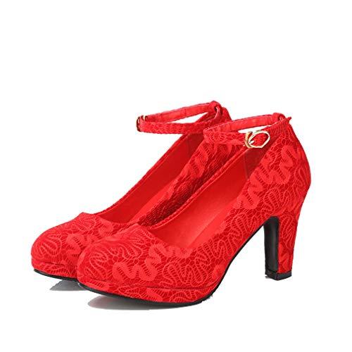 Beautiful bridal shoes Scarpe da Sposa - Scarpe da Sposa Rosso Tacchi Alti con Pizzo Spessore nelle Scarpe da Sposa (con Alta 8cm) - Scarpe da Sposa da Donna (Colore : Rosso, Dimensioni : 39)