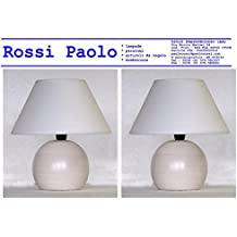Lampada lumetto abat jour da comodino sfera in legno tornito con paralume; produzione propria, made in Italy (avorio coppia)