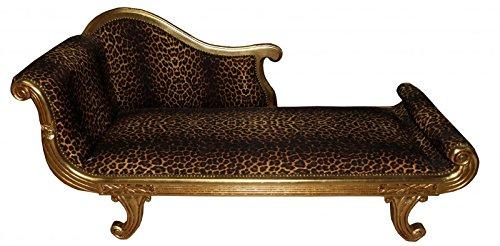 Casa Padrino Barock Chaiselongue Modell XXL Leopard/Gold- Antik Stil -