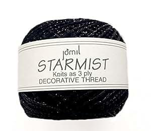 Metallic BLACK decorative embroidery thread / crochet yarn (glitter balls!) 2 x 20g balls of
