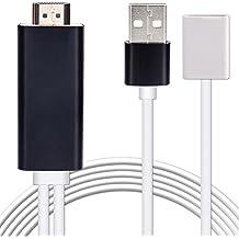 Stick de TV HDMI Cable, 1080p iPhone a HDMI cable conector, oneisall de alta velocidad HD HDTV convertidor adaptador para iPhone 55S 66S 7Plus, iPad, Plug and Play/Hot Swap, (Lightning Cable No Incluido)