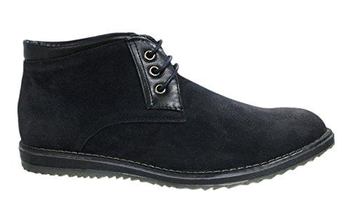 Scarpe polacchine uomo casual camoscio nero sneakers stivaletti scamosciati invernali numero 40 41 42 43 44 45 (40, nero)