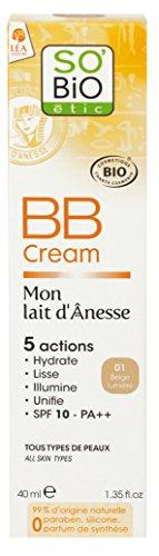 So'Bio Étic Mon Lait d'Ânesse BB Crème 01 Beige Lumière 40 ml Lot de 2, tous types de peaux