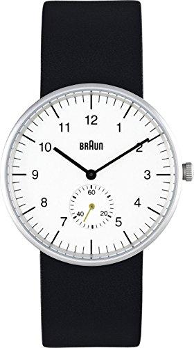Braun BN0024WHBKG - Reloj analógico de caballero de cuarzo con correa de piel negra