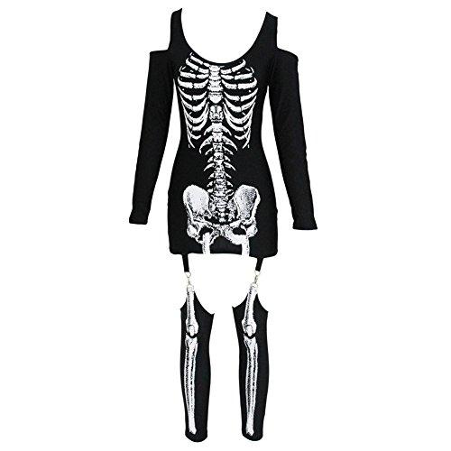 schwarz Weißes Skelett Kleid Leggings Bodysuit Cosplay Jumpsuit Schädel Gedruckt Strappy Sexy (Weiße Halloween-kostüm Bodysuit)