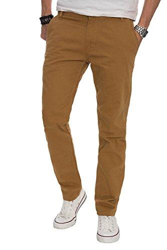 A. Salvarini Herren Designer Chino Stoff Hose Chinohose Regular Fit AS016 [AS016 - Camel - W38 L32]