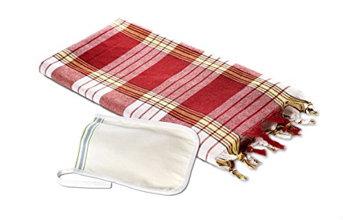 Carenesse Hamam Set, 1 Hamam Tuch Karo Rot und 1 Peeling Handschuh Fest