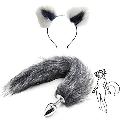 Grey Kostüm Fox - Jjek Cos-Grey Fox Metall Schwanz Plüsch und Multicolor Katzenohren Glamour Weibliche Maskerade Requisiten 2 stücke Set Massage Cosplay Kostüm Requisiten (Color : White+Grey, Size : L)