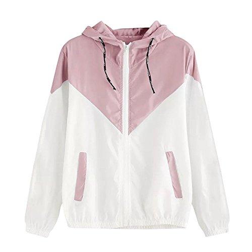 Damen Hoodies,KIMODO 2019 Frauen Langarm Patchwork Dünne Skin Suits Mit Kapuze Reißverschluss Taschen Sport Mantel (Rosa, S)