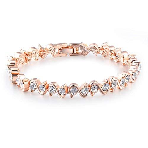 98ca91a7fc4 George Smith Rose-Gold überzogener funkelnder kubischer Zirconia Stein S  Form Armband für Muttertag Geschenk