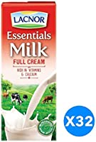 Lacnor  Essentials Milk Full Cream - Pack of 32 Pieces (32 x 180 ml)