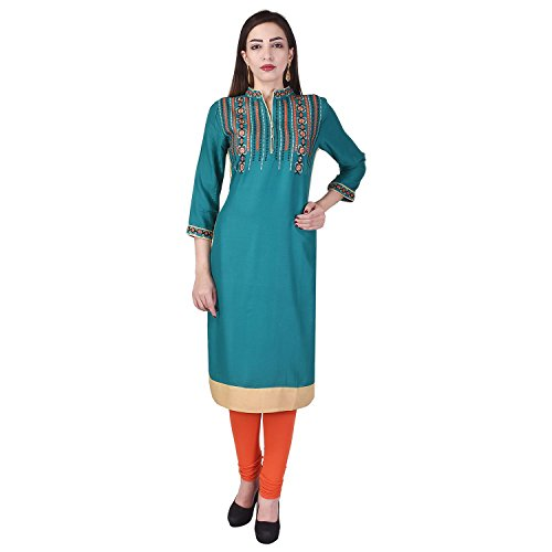 Ultimate Choice Embroidered Heavy Mirror Work Rayon Straight Kurti for Women(VC026Green)