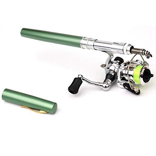 Delicacydex Mini Portable Pen Typ Angelrute Teleskop Angelrute mit Metall Angelrolle Outdoor Angelgerät Zubehör - Grün