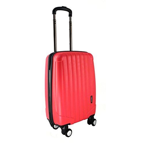 LuggageX Hard Shell Cabin Approved Case Lightweight Hand Luggage Suitcase with 4 Double Wheels Bagage Cabine, 53 cm, 27 liters, Rouge (Red)