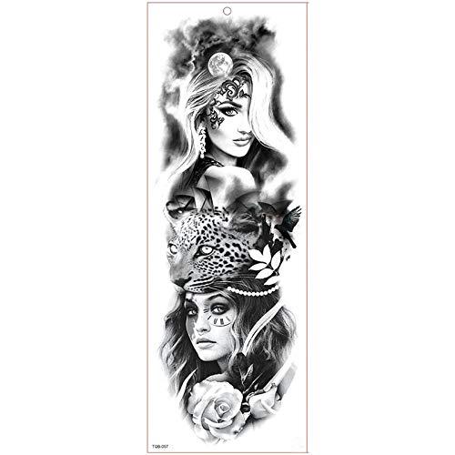 Große Armmanschette aus wasserfestem Tattoo, selbstklebend aus temporärem Tattoo Tiger Forest Lion Full Flower (Body Paint Halloween Kostüme Für Frauen)