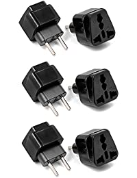 Aukru 6 pcs Adaptador Universal de Enchufe UK US AU a UE, Adaptador Europeo de Viaje Enchufe Plug - Negro