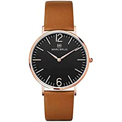 Marc Brüg Men's Minimalist Watch Paddington 41 Black Rosegold