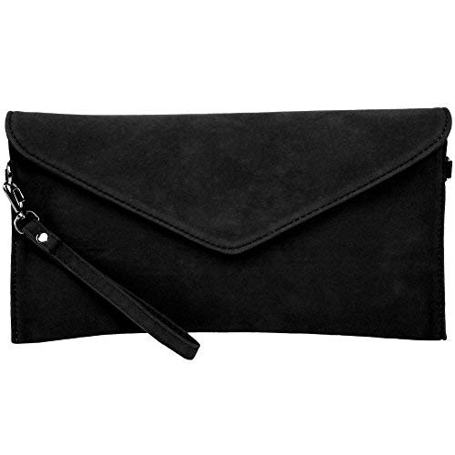 KorMei Womens Ladies Soft Faux Suede Envelope Cluth Bag Bridal Weddingparty Handbag Black