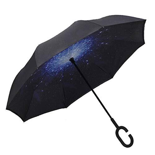 FMIKA Double Layer Inverted Stockschirme, Reverse-Regenschirm Griff Auto Umkehrschirm Freie Hand groß mit C-förmigem Winddicht UV-Behandlung regenfest Unisex,C -