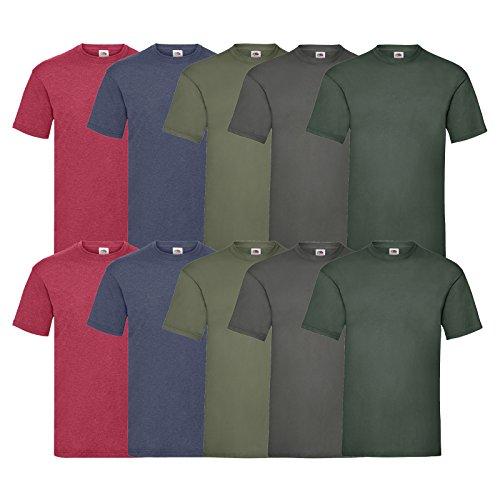 Fruit of the Loom 10 T Shirts Valueweight T Rundhals S M L XL XXL 3XL 4XL 5XL Übergröße Diverse Farbsets auswählbar (XL, 2 Vintage H.Red/2 Vintage H.Navy/2 Graphite/2 Olive/2 Flaschengrün)