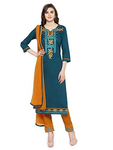 Kvsfab Women's Teal & Brown Unstitched Salwar Kameez Material [KVSSK10061SDRS_3]