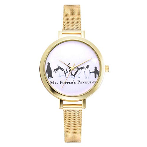 (Frauenuhr, Elegante Damen Armbanduhr mit Legierungs-Kasten und Rundem Pinguin-Muster-Vorwahlknopf für Geschenk(Gold))