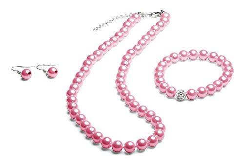 Perlenkette geknotet - Perlenarmband - Perlenohrringe - Set Pink