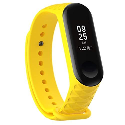 Bestow XiaoMi Mi Band 3 Patr¨®n TPU Smart Reloj de Pulsera Correa de Reloj Reloj Inteligente Electronics Gadgets Reloj de Pulsera (Amarillo01)