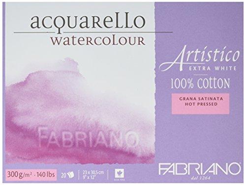 Fabriano Aquarellpapier Artistico, Block 4 seitig geleimt, extra weiß, Satin, 300g/m² -22.8cm x 30.4cm - 20 Blatt (Lb-aquarell-block 140)