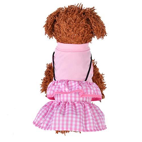 Hawkimin Pullover französisch Haustier Hund Katze Kleid Plaid Dog Princess Sommer Patchwork Streifen Einfarbig Atmungsaktives Kleid Kleidung -