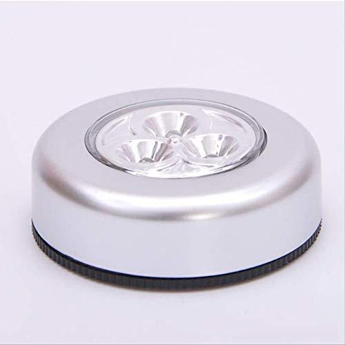 Touch light argento 3 LED risparmio energetico lampada a pressione luce notturna auto parete Casa batt
