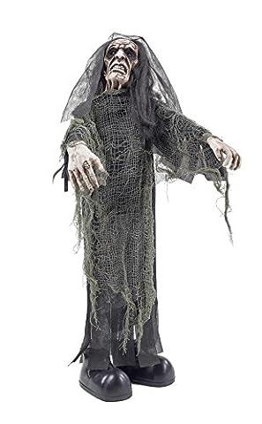 Halloween Leiche Zombie Figur ca. 75 cm | knuellermarkt.de | Animiert Dekoration Party gruselig rote Augen