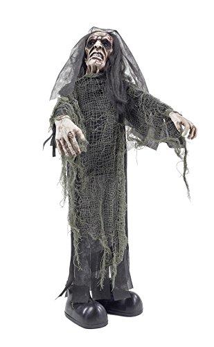 Halloween Leiche Zombie Figur ca. 75 cm | knuellermarkt.de | Animiert Dekoration Party gruselig rote Augen (Halloween Animierte Figuren)