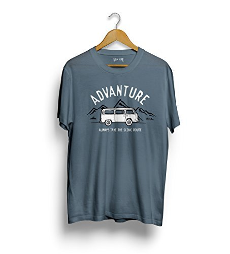 VW T2 Van t-shirt - Volkswagen Transporter tee Advanture, take the panorama straße Reisemobil tee surf bus Blau