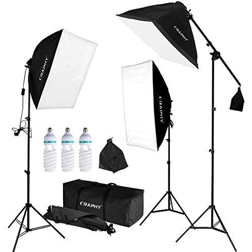 fotostudio lampen CRAPHY Softbox Set, Softbox Dauerlicht mit 3X Softboxen und 3X Fotolampen(135W), Studioleuchte Set mit Auslegerarm und Tragetasche, Fotostudio Set für Green Screen, Portrait und Videoaufnahme