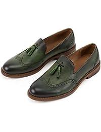 DingXW Moda Cuero Genuino Transpirable Oxfords Zapatos Casuales Slip-on Mocasines de Punta Redonda para