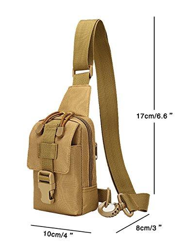 Menschwear Borse Vintage Borsa a Spalla Piccolo Tasca di Tela Trekking Outdoor Borsello Chest Bag per Sport Tasche Viaggio Marsupio Militare Camuffare 1 Cachi