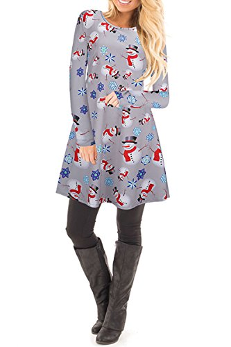 achten Kleid Santa Weihnachten Geschenk Swing Kleid,1702-Grau,XS (Kleid Santa)