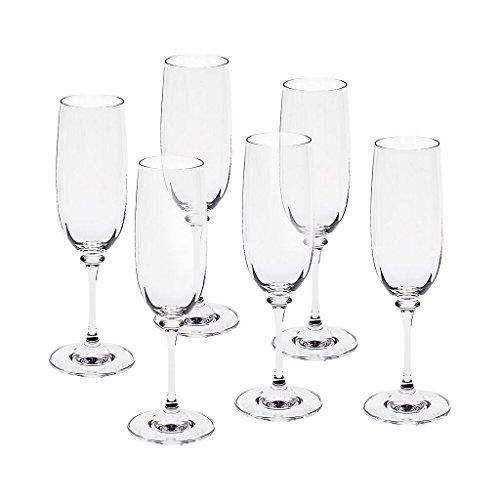 6 x Sektglas, Sektkelch, Champagnerglas CONDOR 190ml, transparent, Bleikristall Glas, 21 cm, moderner Style (GERMAN CRYSTAL by CRISTALICA)