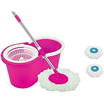 DAIVE's MopFloor Cleaner with Bucket Set Offer with Big Wheels for Best 360 Degree Easy Magic Cleaning, Pink with 2 Microfiber