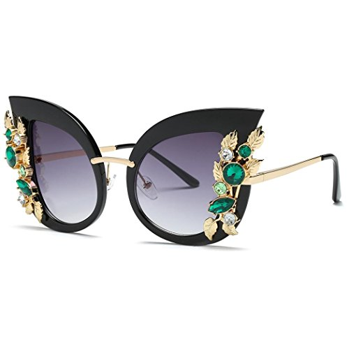 Covermason 2018 Frauen Sonnenbrillen Groß Strass Glitzernd Blumen Sunglasses Brillen (C)