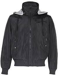 Mens Reversible 4 in 1 Detachable Hood Bomber Biker Zip Parka Jacket Sweat Coat