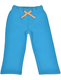 CrayonFlakes Kids Wear Turquoise Teddy Patch Cotton Poly Brushed Fleece Pants
