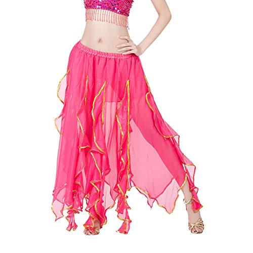 Chiffon Bauchtanz Rock Orientalische Kostüme Damen Chiffon Schlitz Maxirock Doppelt Schicht Rüschen Big Swing Langer Rock Tanzkostüm Performance Kostüm Chiffonrock Pink -