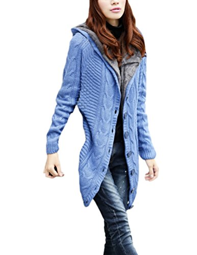273ac4b2e096 Damen Strickjacken Mit Kapuze Lang Jacken Elegant Stricken Gefüttert  Fashion Dickere Warm Winter Cardigan Langarm Vintage Festlich Hoodies Kabel  Gestrickte ...